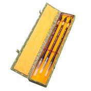 Chinese Calligraphy Japanese Sumi Drawing Brush Hu Pen Lang Hao (Wolf Hair) 3 Pcs Gift Set
