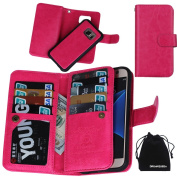 S7 Case, DRUnKQUEEn® Premium Leather Credit Card Holder Feature Wallet Type Flip Folio Case - Detachable Magnetic Back Cover with Lanyard Wrist Hand Strap for G930 for for for for for for for for for for Samsung Galaxy S7 - Rose