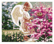 Diy oil painting, paint by number kit - Angel girl with wings 16*50cm .