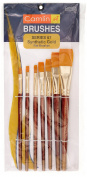 Camel Paint Brush Series 67 - Flat Synthetic Gold, Set Of 7