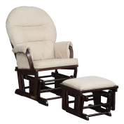 Shermag Contemporary Style Rocker and Ottoman Glider, Espresso with Pearl Beige