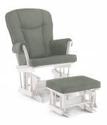 Shermag Stanton Transitional Style Rocker and Ottoman Glider, White with Grey