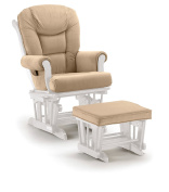 Shermag Glider Rocker Combo, White with Pearl Beige