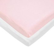 Pindaboo Cradle Fitted Sheet Pink & White