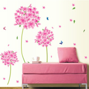 Butterflies Pink Flowers Wall Decals Nursery Baby Room Stickers House Decorations Wallpaper Removable for Kids Living Room Bedroom Art Picture Murals DIY Stick