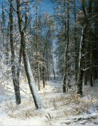 100% Hand Painted Winter in wood hoarfrost in winter Canvas Oil Painting for Home Wall Art by Well Known Artist, Framed, Ready to Hang