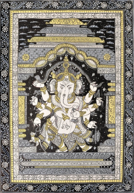 Lord Ganesha Dancing and Stretching a Snake Over His Head - Water Colour Painting on Patti - Folk Art
