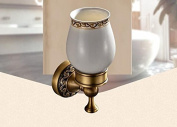 Continental carved pedestal glass antique bathroom accessories toothbrush holder