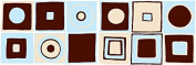 Retro Mod Squares Wall Decals with Circles in Ice Blue , Dark Brown,and Tan / Modern Geometric Wall Decor