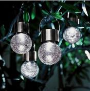 Neomark Wireless Crackle Glass Solar Panel Sunlight Powered 4 LED Bulb Light With Hanger Home Outdoor Garden Tree Courtyard Decoration