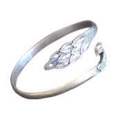 Jade Angel Sterling Silve Open Adjustable Cuff Bracelet Engraved Peafowl Fine Bangle