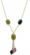 Multi-Colour Sapphire 43cm Necklace 6.4cm Lariat with 14k Yellow Gold,13.4 Grammes