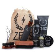 Zeus Ultimate Beard Care Kit Gift Set for Men - The Complete Beard Grooming Kit for Men for Softer, Touchable Beards (Beard Oil