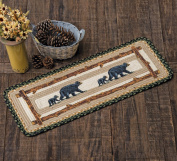 Mama Black Bear & Cub Braided Table Runner