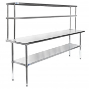 Gridmann NSF Stainless Steel Commercial Kitchen Prep & Work Table Plus A 2 Tier Shelf - 180cm . x 30cm .