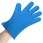 Crqes 1 Pcs Blue Silicone Glove Oven Pot Holder Baking BBQ Cooking Mitts Heat Resistant