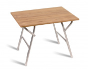 FORMA MARINE Teak Veneer Deck Table, Boat Table, Folding, Rectangular, Anodized, Aluminium, Model M400T