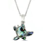 Liav's Sea Turtle Charm Pendant Fashionable Necklace / Abalone Paua Shell / 46cm Link Style Chain / Unique Gift and Souvenir