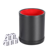 Smonet Traditional Professional PU Leather Dice Cup Set with 5 Poker Dice