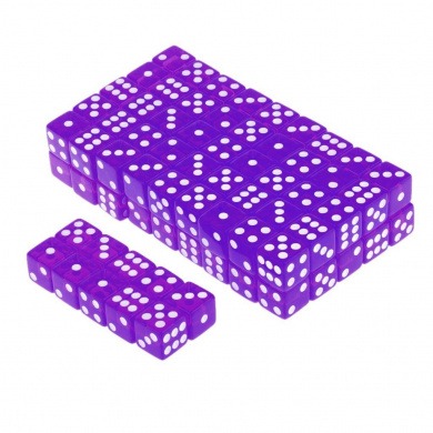 100 x Translucent 16mm Six Sided Spot Dice RPG Games Purple