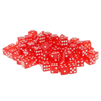 100 x Translucent 16mm Six Sided Spot Dice RPG Games Red