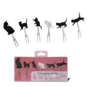 black white cat food picks forks for Bento Box Lunch Box by Fortissimo