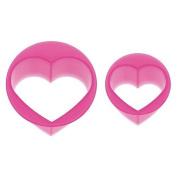 pink glitter heart shape Bento food cutters 2 pcs