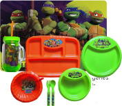 Teenage Mutant Ninja Turtles 8 Pc Children's Lunch Gift Set With Placemat, Sectioned Plate, Plates & Bowls, Double Wall Tumbler & Flatware Set