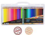 24 Hour. High Quality Artist Style Coloured Pencils, 50 vibrant colours, Great for Adult Colouring. Non-Toxic!