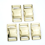 Blue Elf® 5 PCS 1 inch (25mm) Flat Golden Colour Metal Side Release Buckles for Camping Bag Belt Strap Backpacks with free Cable Organiser
