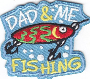 """""""DAD & ME FISHING"""" PATCH-Iron On Embroidered Applique/Words,Fishing,Sport"""