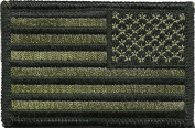 Tactical Reverse USA Flag Patch OD - Olive Drab 5.1cm x 7.6cm hook and loop Backing - By Ranger Return