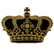 Crown Imperial King Queen Embroidered Iron on Patch
