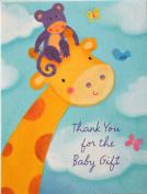 8 Baby Shower Thank You Notes - Giraffe