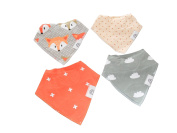Baby Bandana Drool Bibs by Babi Bambino 4-Pack Vibrant Prints on Absorbent Organic Cotton with Adjustable Double Snaps Ideal Shower Gift for Boys and Girls