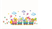 Wall Decal Sticker Animal Train Parade with Balloons Clouds and Flowers for Kids Mural Room Decor Nursery and Daycare 32cm x 70cm DIY Self adhesive