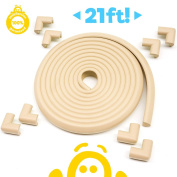 tiddö® 7m Premium Baby Proofing [6.4m CREAM Edge Guards + 8 PRE-TAPED Corner Protector Guards], Soft Extra Dense Rubber Cushion Foam - Eco Friendly - Furniture, Table, Fireplace Baby Proofing