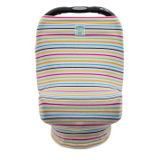 Canopway Style 3-in-1 Multi-use Stretchy Baby Car Seat Canopy, Shopping Cart Cover, Nursing Cover, Rainbow Colour Thin Stripes