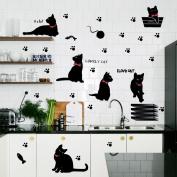 Amaonm® Removable DIY Cute Cartoon Black Cat Wall Decor Kids room Wall Sticker Lovly Playing Cat Wall Decals Peel Stick FOR Girls Children Bedroom Classroom Nursery Room Wall Corner