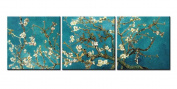 Canvas Print Wall Art Painting For Home Decor Vincent Van Gogh'S Painting Branches Of An Almond Tree In Blossom 1890--The Van Gogh Classic Arts Reproduction 3 Pieces Panel Paintings Modern Giclee Stretched And Framed Artwork The Picture For Living Room ..