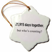 3dRose orn_112219_1 21915 Days Together Who's Counting Happy 60th Anniversary Snowflake Ornament, 7.6cm , Porcelain