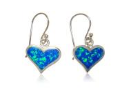 925 Sterling Silver Hawaiian Blue Inlay Fire Opal Heart Love Dangle Earrings Set