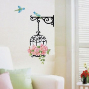 Ussore Wall Sticker Hot Selling Flower Bird Wall Decal Sticker Vinyl Removeable Mural Art For Kids Home Living Room House Bedroom Bathroom Kitchen Office Home Decoration