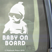 New 2016 Design-Internal Window Version-Cool Baby on Board- White-Funny Joke Carlos Hangover Novelty Car Sticker Sign Decal-Great Christmas Birthday Present Gift Gifts-Universal Fit