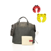 Babymel Grace PU Changing Bag in Grey/Felt With Changing Mat & Insulated Bottle Pocket Plus 1 Pair Of Door Stoppers
