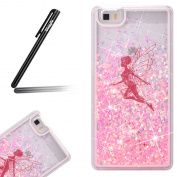 Huawei P8 Lite Case,Ukayfe Huawei P8 Lite Glitter Case,Angel Girl 3D Liquid Flowing Floating Sparkle Bling Glitter Star Love Hearts Design Transparent Plastic Hard Shell Case Cover for Huawei P8 Lite with 1 x Black Stylus - Pink Glitter