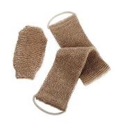 100% Natural Exfoliating Hemp Back Scrubber, Bath & Shower Body Brush Scrubber with Handle, Durable Machine Washable, Free Mitt