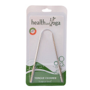 HealthAndYoga(TM) Surgical Grade Stainless Steel Tongue Cleaner Scraper | Bacteria Inhibiting, Non-synthetic Grip | Sterilizable