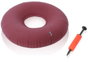 Dr. Frederick's Original Donut Cushion - 38cm Inflatable Ring Cushion - Hemorrhoid Treatment, Bed Sores, Coccyx & Tailbone Pain, Pilonidal Cyst, Perineal Pain, Child Birth, Prostatitis - Red