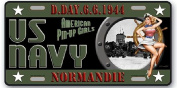 AMERICAN METAL PLATE AROUND THE WORLD PIN UP US NAVY NORMANDIE